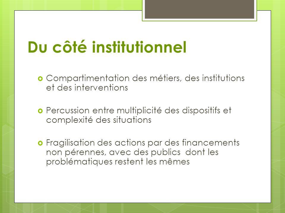 Du côté institutionnel  Compartimentation des métiers, des institutions et des interventions  Percussion entre multiplicité des dispositifs et compl