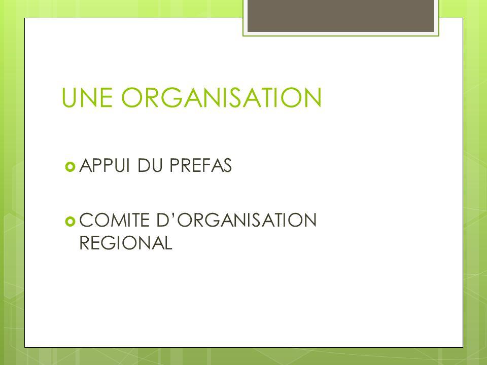 UNE ORGANISATION  APPUI DU PREFAS  COMITE D'ORGANISATION REGIONAL