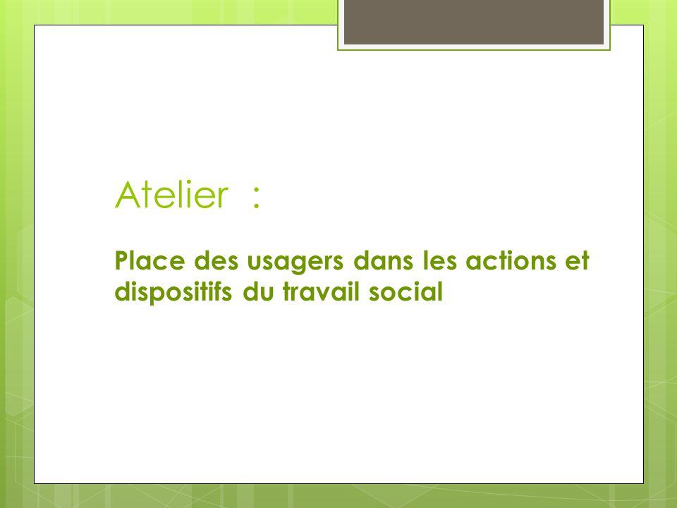 Atelier : Place des usagers dans les actions et dispositifs du travail social