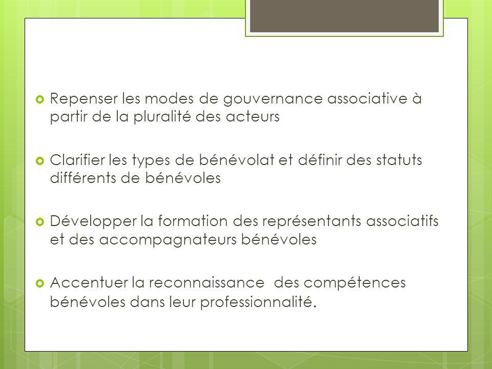  Repenser les modes de gouvernance associative à partir de la pluralité des acteurs  Clarifier les types de bénévolat et définir des statuts différe