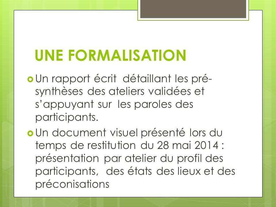 UNE FORMALISATION  Un rapport écrit détaillant les pré- synthèses des ateliers validées et s'appuyant sur les paroles des participants.  Un document