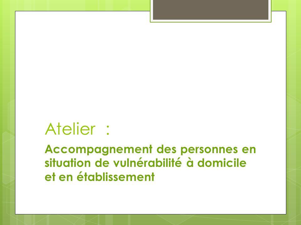Atelier : Accompagnement des personnes en situation de vulnérabilité à domicile et en établissement