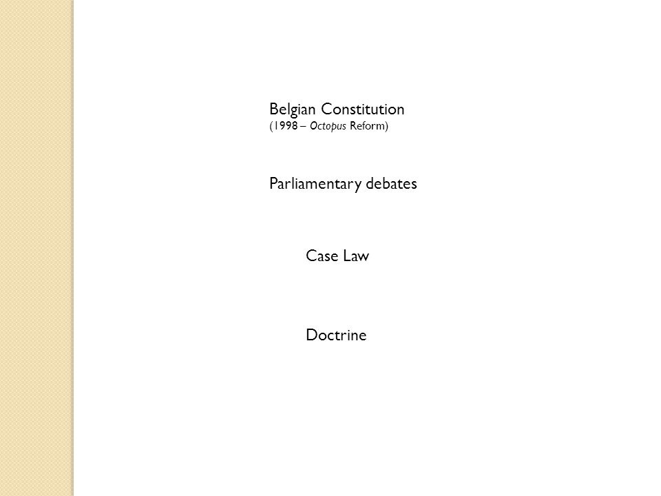 Parliamentary debates Belgian Constitution (1998 – Octopus Reform) Case Law Doctrine