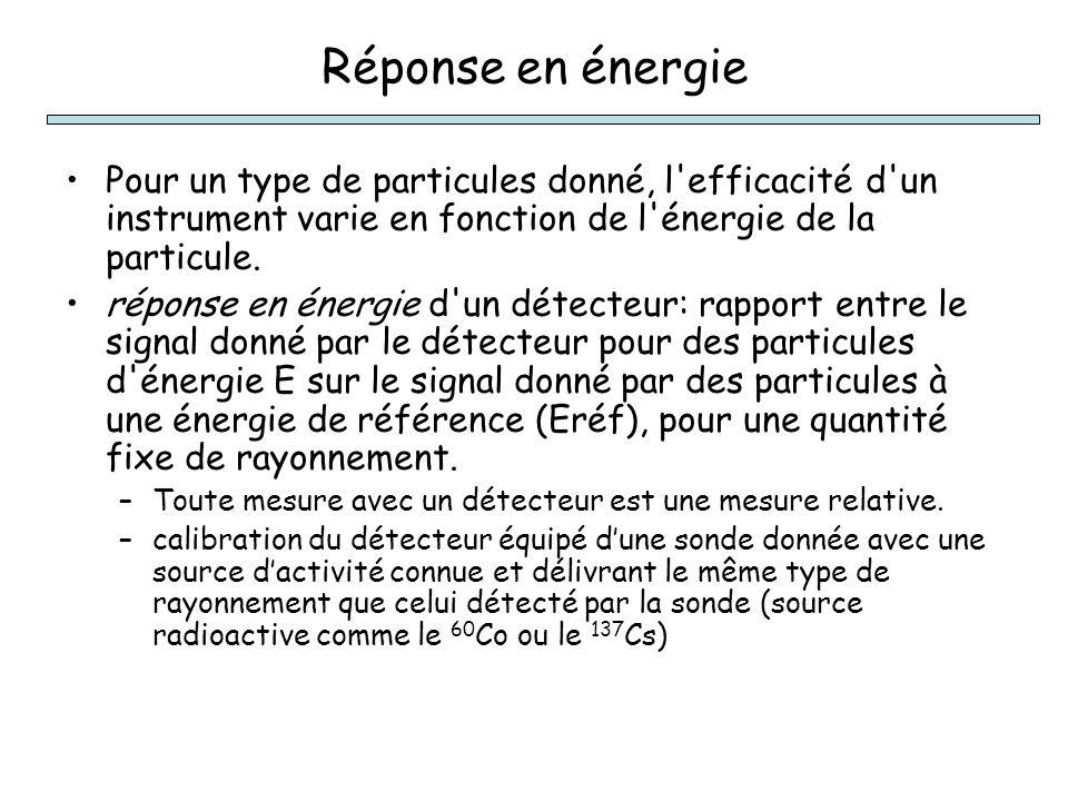 Réponse en énergie Pour un type de particules donné, l efficacité d un instrument varie en fonction de l énergie de la particule.