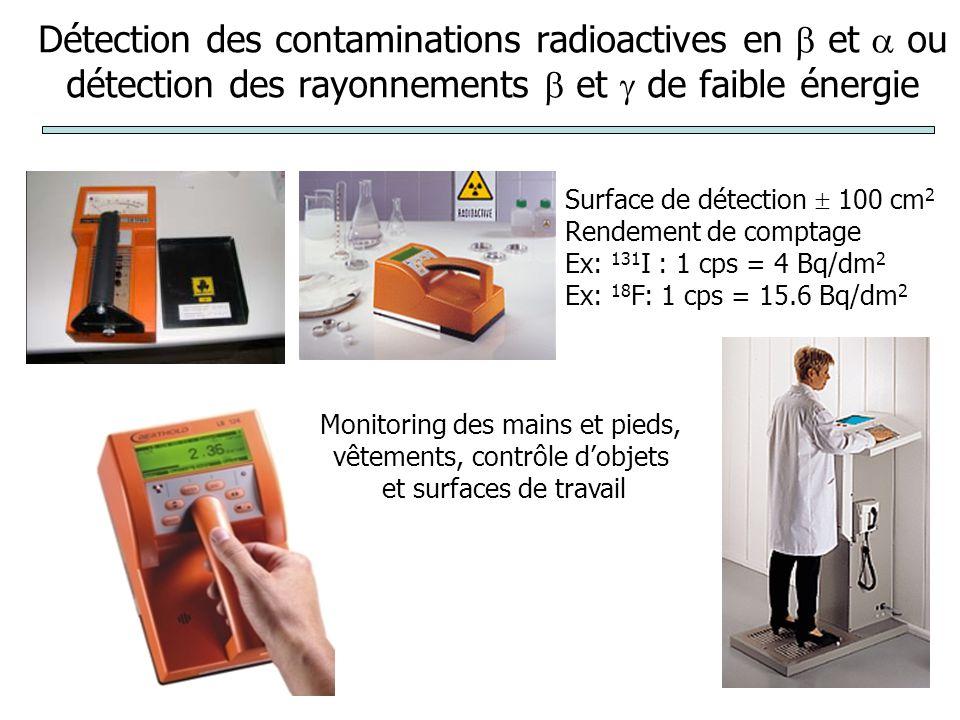 Détection des contaminations radioactives en  et  ou détection des rayonnements  et  de faible énergie Monitoring des mains et pieds, vêtements, contrôle d'objets et surfaces de travail Surface de détection  100 cm 2 Rendement de comptage Ex: 131 I : 1 cps = 4 Bq/dm 2 Ex: 18 F: 1 cps = 15.6 Bq/dm 2