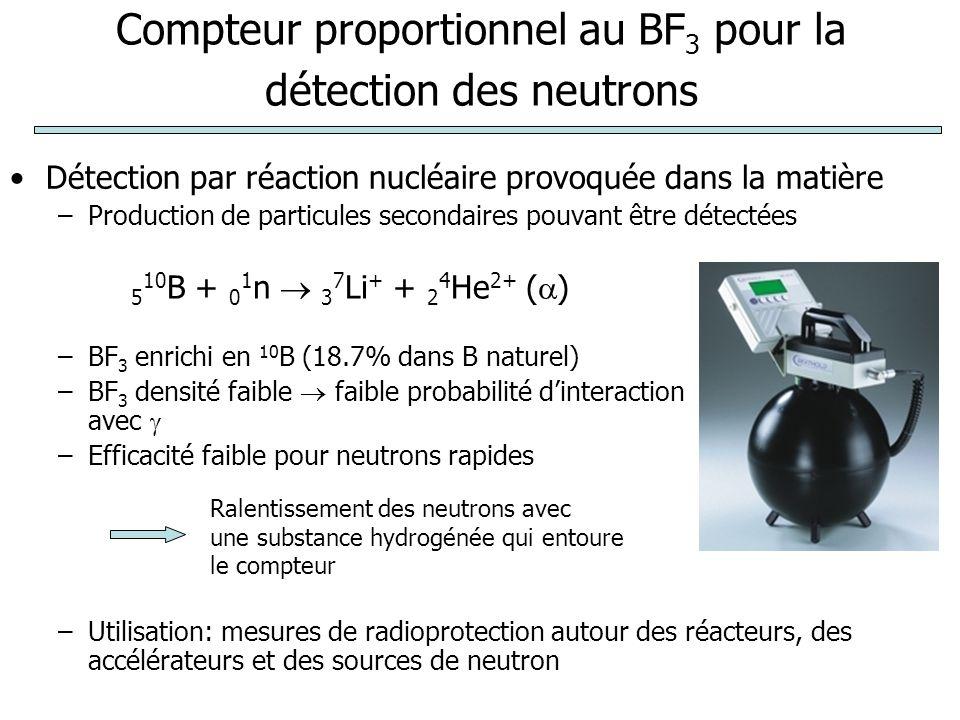 Compteur proportionnel au BF 3 pour la détection des neutrons Détection par réaction nucléaire provoquée dans la matière –Production de particules secondaires pouvant être détectées –BF 3 enrichi en 10 B (18.7% dans B naturel) –BF 3 densité faible  faible probabilité d'interaction avec  –Efficacité faible pour neutrons rapides –Utilisation: mesures de radioprotection autour des réacteurs, des accélérateurs et des sources de neutron 5 10 B + 0 1 n  3 7 Li + + 2 4 He 2+ (  ) Ralentissement des neutrons avec une substance hydrogénée qui entoure le compteur