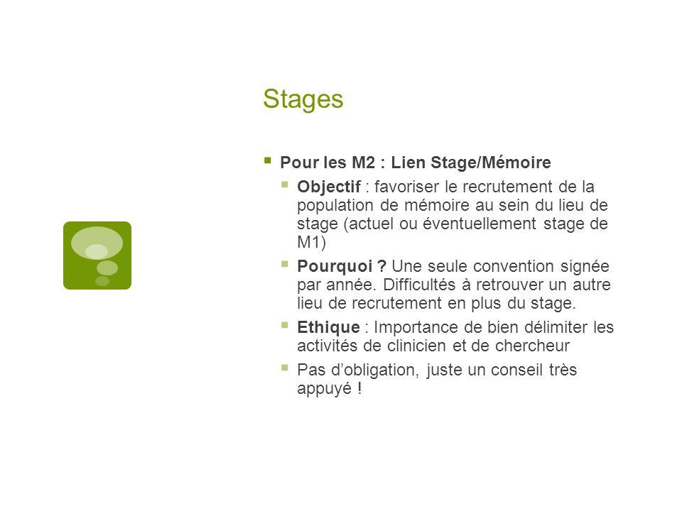 Stages  Pour les M2 : Lien Stage/Mémoire  Objectif : favoriser le recrutement de la population de mémoire au sein du lieu de stage (actuel ou éventuellement stage de M1)  Pourquoi .