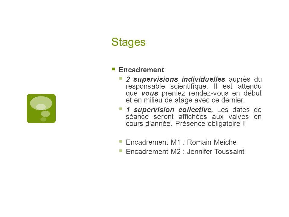 Stages  Encadrement  2 supervisions individuelles auprès du responsable scientifique.
