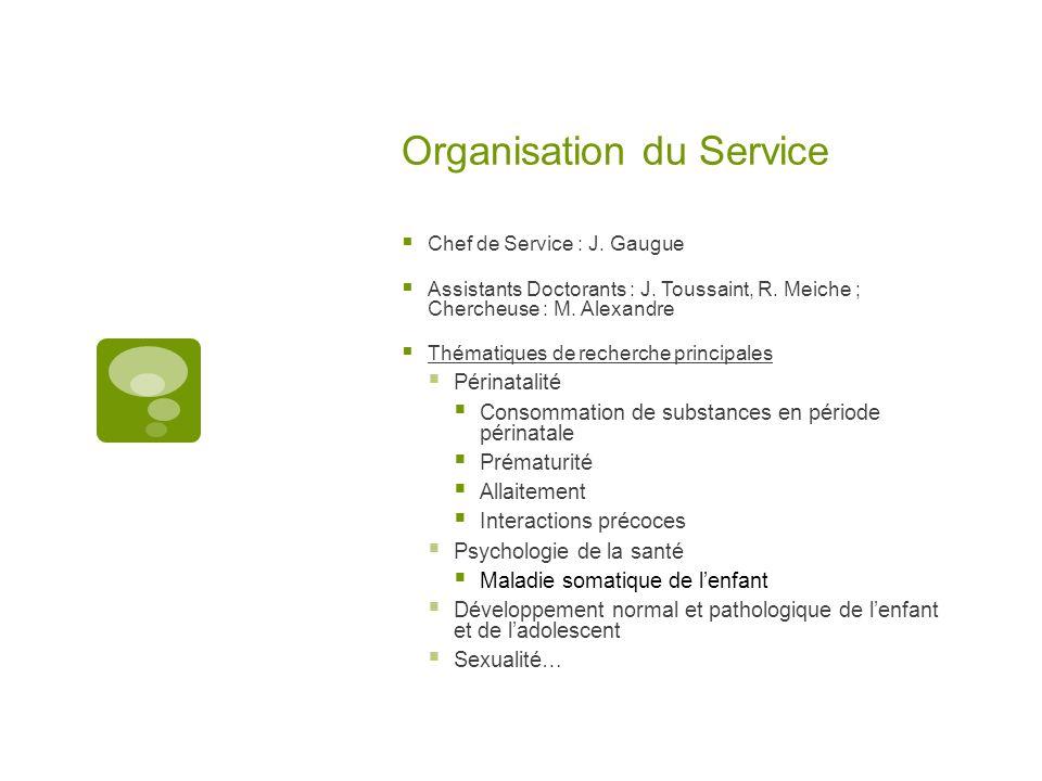 Organisation du Service  Chef de Service : J. Gaugue  Assistants Doctorants : J.