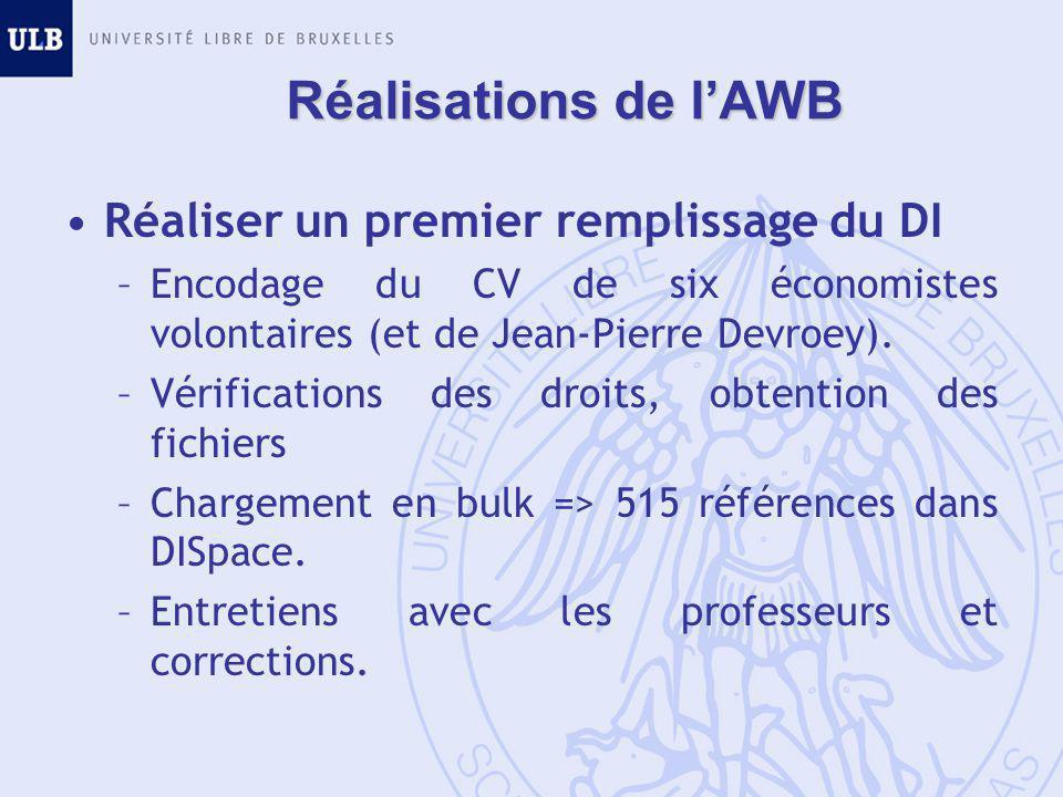 Réalisations de l'AWB Réaliser un premier remplissage du DI –Encodage du CV de six économistes volontaires (et de Jean-Pierre Devroey).