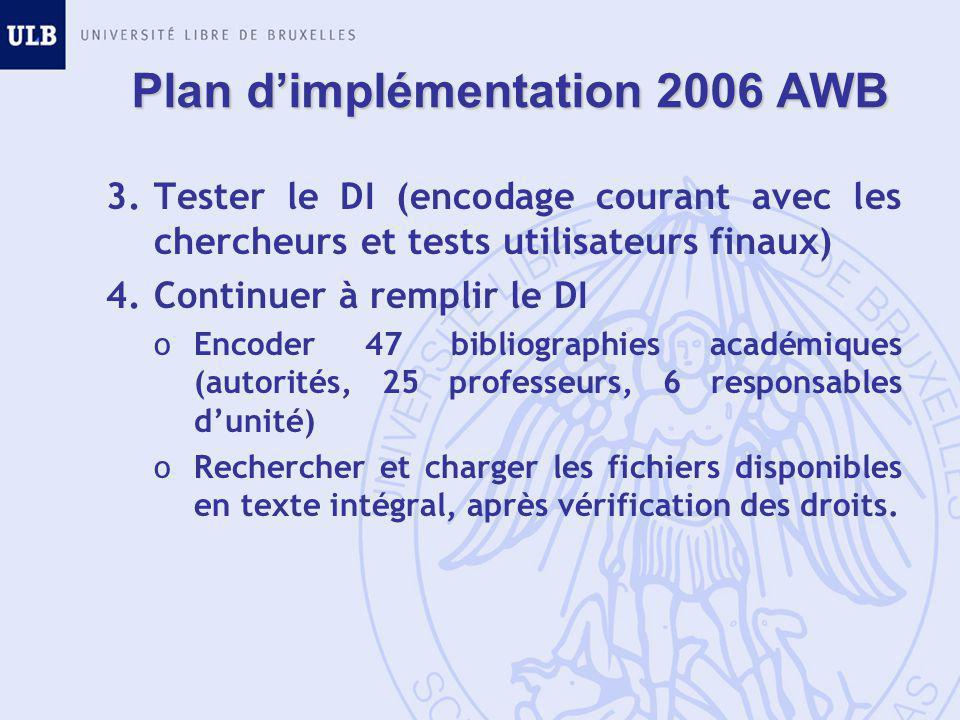 Plan d'implémentation 2006 AWB 3.Tester le DI (encodage courant avec les chercheurs et tests utilisateurs finaux) 4.Continuer à remplir le DI oEncoder 47 bibliographies académiques (autorités, 25 professeurs, 6 responsables d'unité) oRechercher et charger les fichiers disponibles en texte intégral, après vérification des droits.