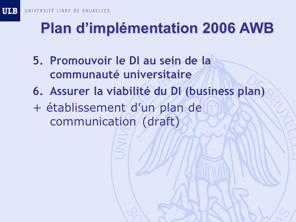 Plan d'implémentation 2006 AWB 5.Promouvoir le DI au sein de la communauté universitaire 6.Assurer la viabilité du DI (business plan) + établissement d'un plan de communication (draft)