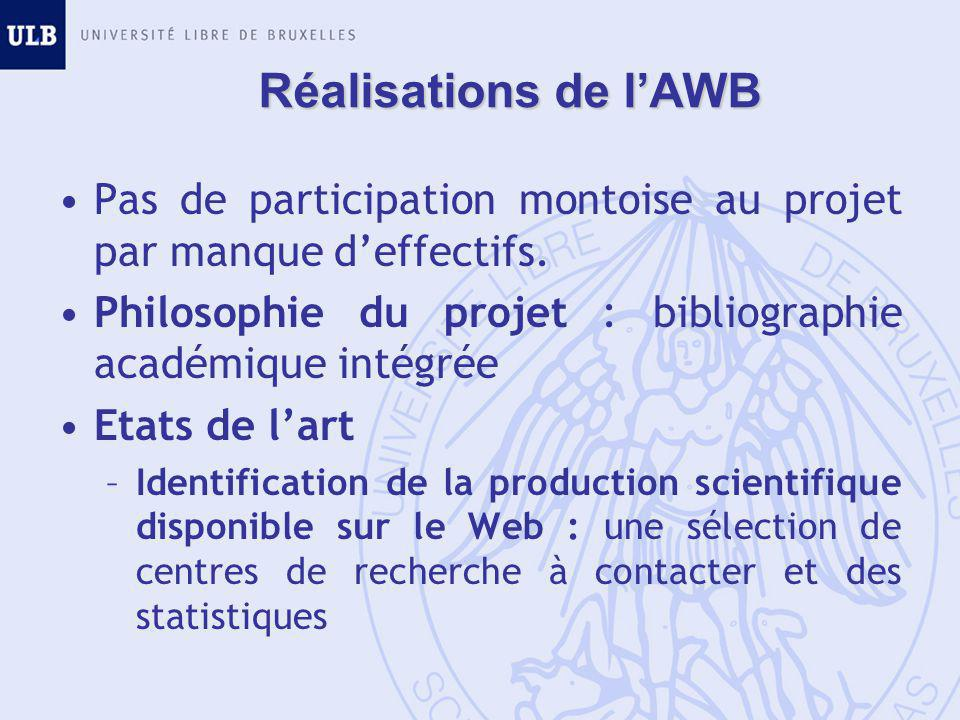 Réalisations de l'AWB Pas de participation montoise au projet par manque d'effectifs.
