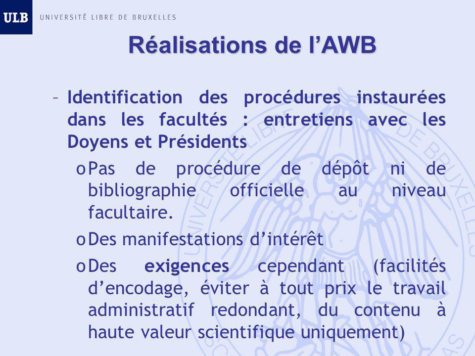 Réalisations de l'AWB –Identification des procédures instaurées dans les facultés : entretiens avec les Doyens et Présidents oPas de procédure de dépôt ni de bibliographie officielle au niveau facultaire.