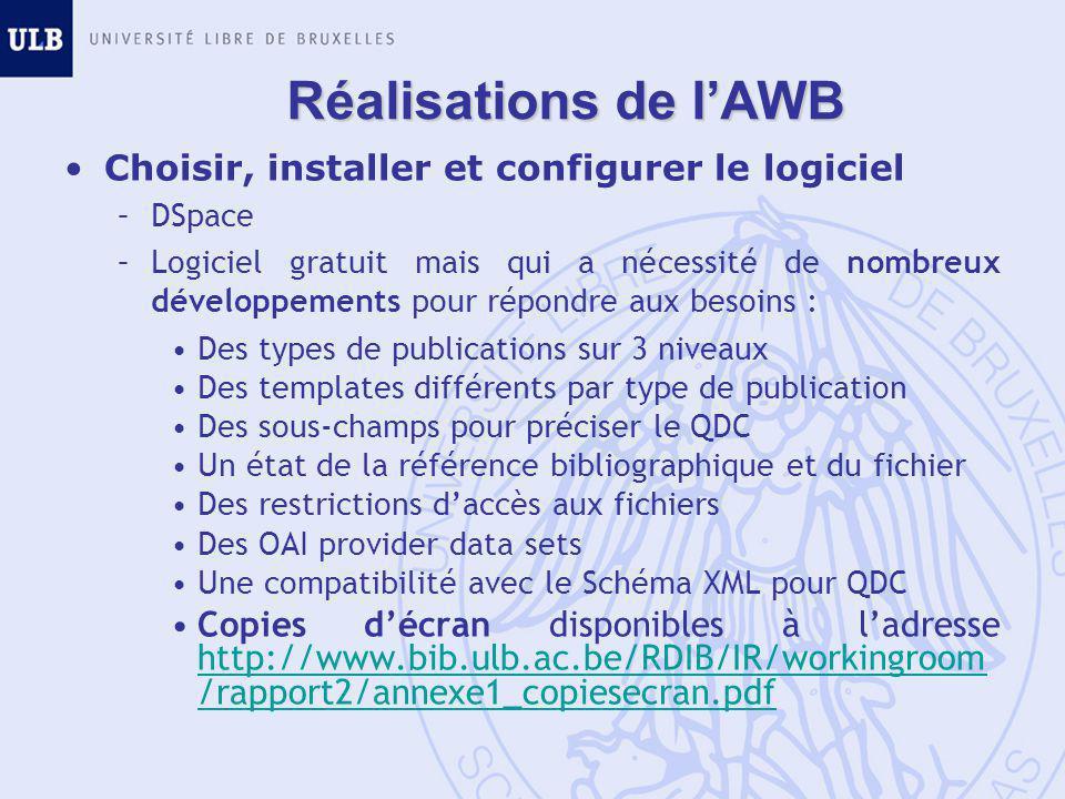 Réalisations de l'AWB Choisir, installer et configurer le logiciel –DSpace –Logiciel gratuit mais qui a nécessité de nombreux développements pour répondre aux besoins : Des types de publications sur 3 niveaux Des templates différents par type de publication Des sous-champs pour préciser le QDC Un état de la référence bibliographique et du fichier Des restrictions d'accès aux fichiers Des OAI provider data sets Une compatibilité avec le Schéma XML pour QDC Copies d'écran disponibles à l'adresse http://www.bib.ulb.ac.be/RDIB/IR/workingroom /rapport2/annexe1_copiesecran.pdf http://www.bib.ulb.ac.be/RDIB/IR/workingroom /rapport2/annexe1_copiesecran.pdf