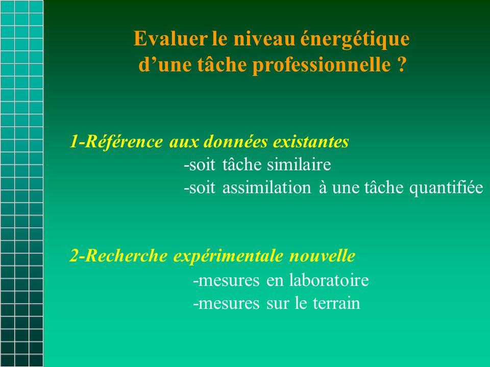 Evaluer le niveau énergétique d'une tâche professionnelle .