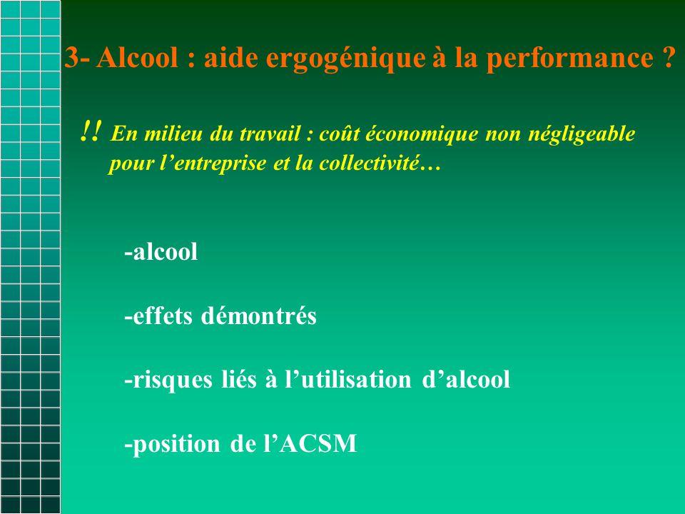 3- Alcool : aide ergogénique à la performance .!.
