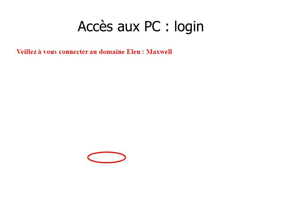 Accès aux PC : login Veillez à vous connecter au domaine Elen : Maxwell