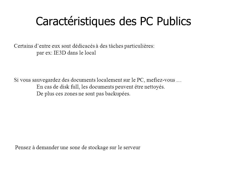 Caractéristiques des PC Publics Certains d'entre eux sont dédicacés à des tâches particulières: par ex: IE3D dans le local Si vous sauvegardez des documents localement sur le PC, mefiez-vous … En cas de disk full, les documents peuvent être nettoyés.