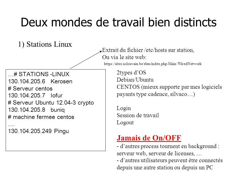 1) Stations Linux …# STATIONS -LINUX 130.104.205.6 Kerosen # Serveur centos 130.104.205.7 Iofur # Serveur Ubuntu 12.04-3 crypto 130.104.205.8 buniq # machine fermee centos....