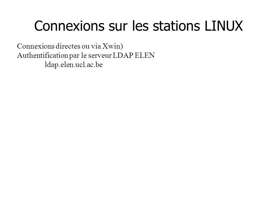 Connexions sur les stations LINUX Connexions directes ou via Xwin) Authentification par le serveur LDAP ELEN ldap.elen.ucl.ac.be