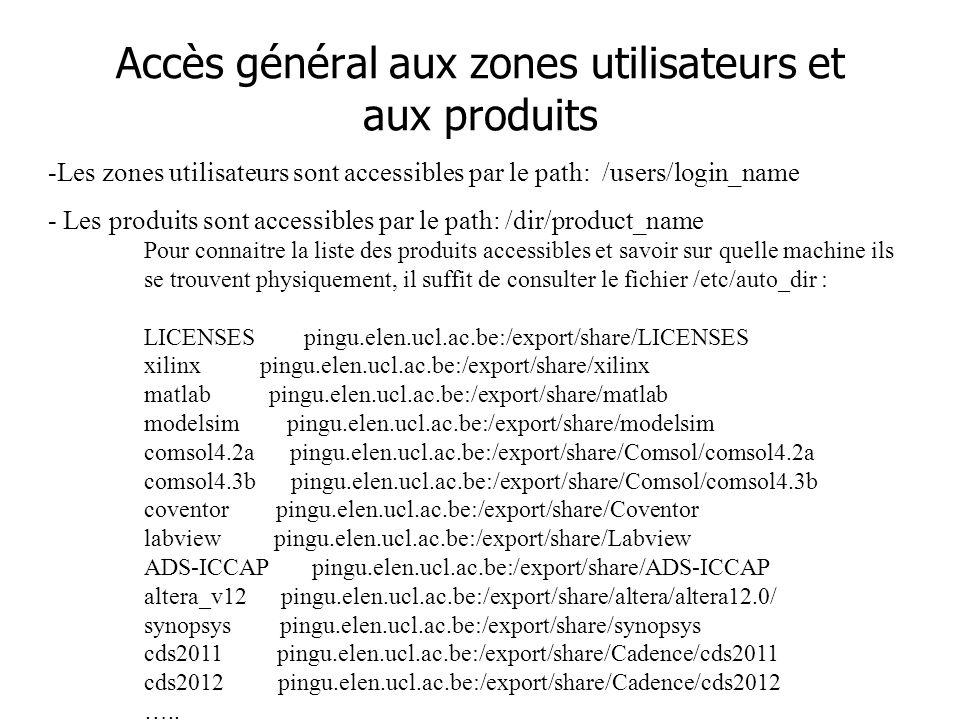 Accès général aux zones utilisateurs et aux produits -Les zones utilisateurs sont accessibles par le path: /users/login_name - Les produits sont accessibles par le path: /dir/product_name Pour connaitre la liste des produits accessibles et savoir sur quelle machine ils se trouvent physiquement, il suffit de consulter le fichier /etc/auto_dir : LICENSES pingu.elen.ucl.ac.be:/export/share/LICENSES xilinx pingu.elen.ucl.ac.be:/export/share/xilinx matlab pingu.elen.ucl.ac.be:/export/share/matlab modelsim pingu.elen.ucl.ac.be:/export/share/modelsim comsol4.2a pingu.elen.ucl.ac.be:/export/share/Comsol/comsol4.2a comsol4.3b pingu.elen.ucl.ac.be:/export/share/Comsol/comsol4.3b coventor pingu.elen.ucl.ac.be:/export/share/Coventor labview pingu.elen.ucl.ac.be:/export/share/Labview ADS-ICCAP pingu.elen.ucl.ac.be:/export/share/ADS-ICCAP altera_v12 pingu.elen.ucl.ac.be:/export/share/altera/altera12.0/ synopsys pingu.elen.ucl.ac.be:/export/share/synopsys cds2011 pingu.elen.ucl.ac.be:/export/share/Cadence/cds2011 cds2012 pingu.elen.ucl.ac.be:/export/share/Cadence/cds2012 …..