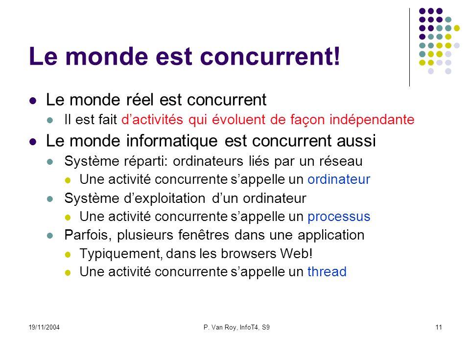 19/11/2004P. Van Roy, InfoT4, S911 Le monde est concurrent.