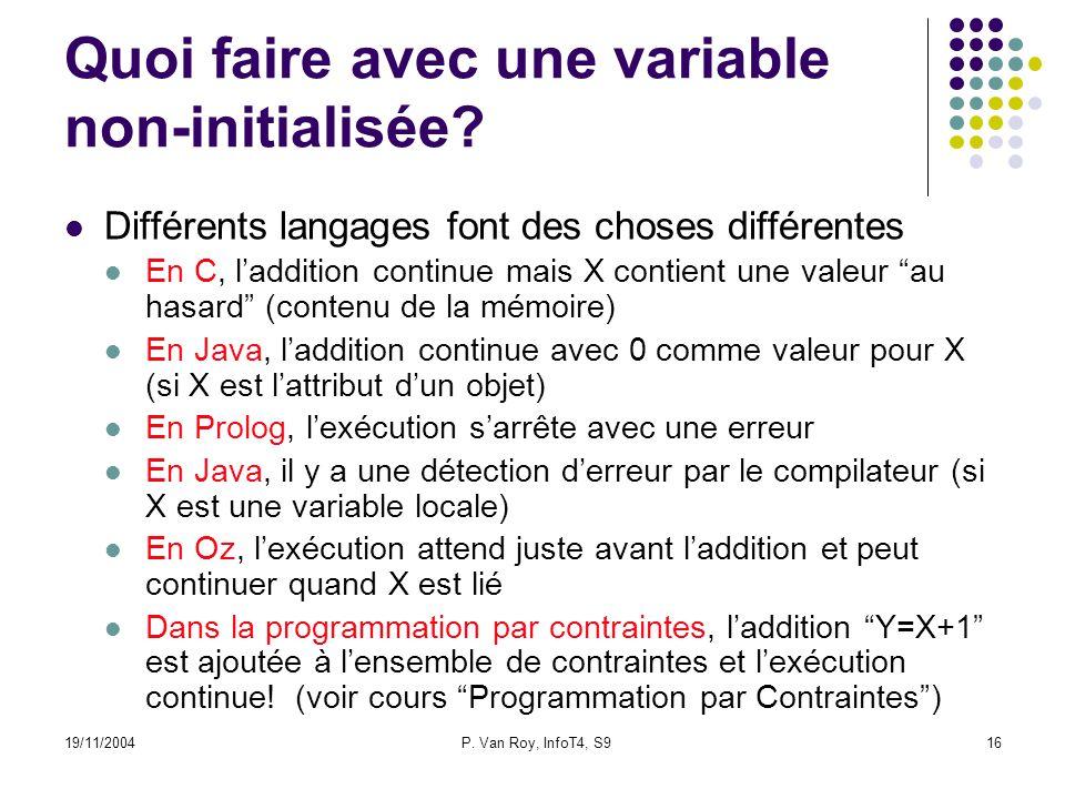 19/11/2004P. Van Roy, InfoT4, S916 Quoi faire avec une variable non-initialisée.