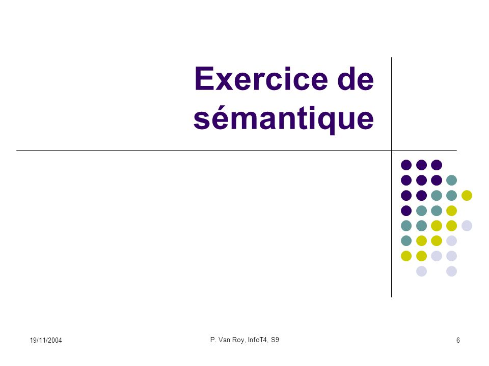 19/11/2004 P. Van Roy, InfoT4, S9 6 Exercice de sémantique