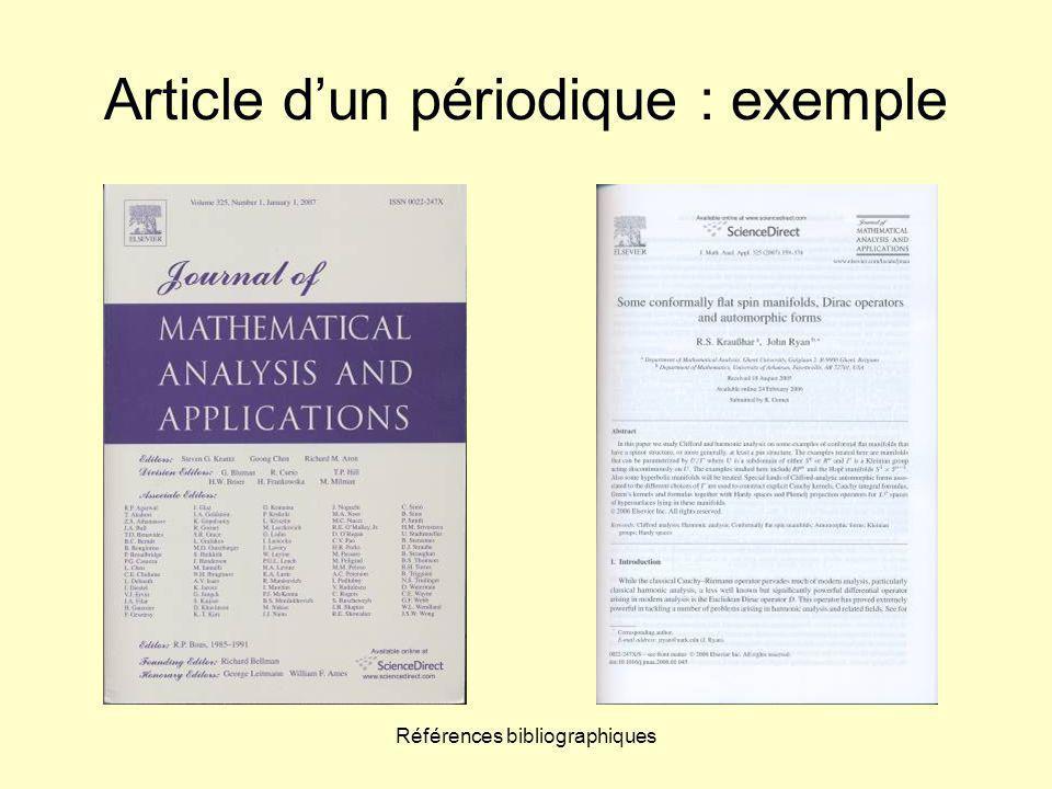 Références bibliographiques Article d'un périodique : exemple