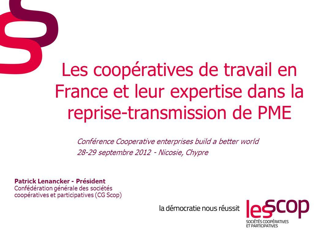 Les coopératives de travail en France >2 046 Scop (dont 136 Scic) >42 200 salariés, 46 700 en comptant les filiales >Chiffre d'affaires : 3,7 milliards d'€ >Valeur ajoutée : 1,7 milliard d'€ >Résultat net : 121 millions d'€ www.les-scop.coop 2