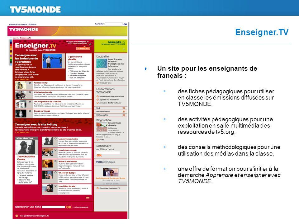 Enseigner.TV  Un site pour les enseignants de français :  des fiches pédagogiques pour utiliser en classe les émissions diffusées sur TV5MONDE,  de