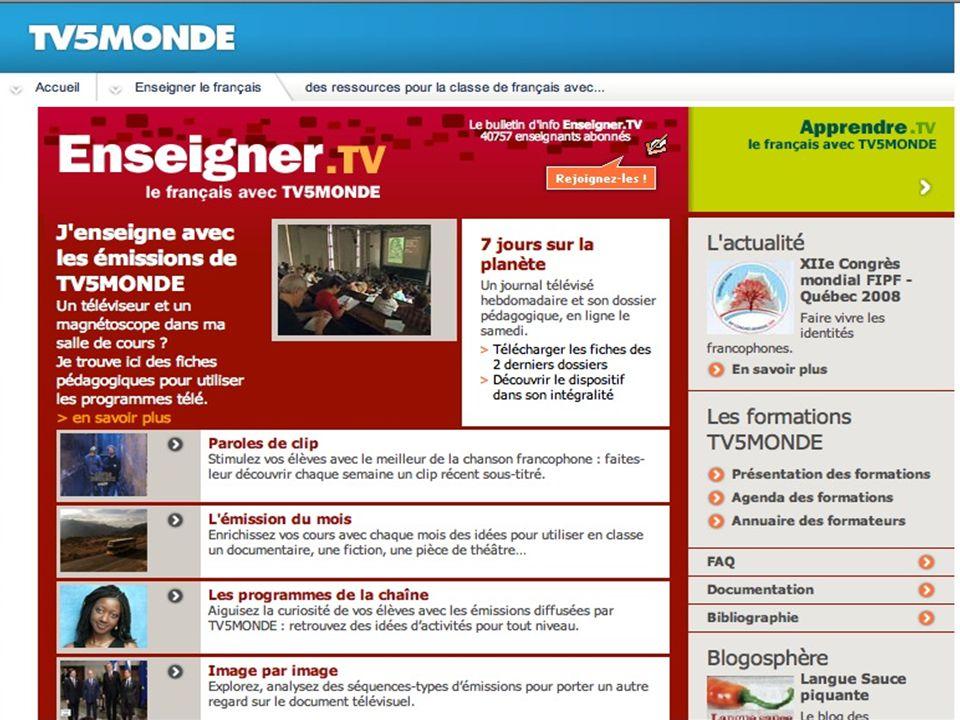 TV5MONDE toute l'année… Promotion et enseignement du français Ecrivez-nous à : enseignant@tv5.org