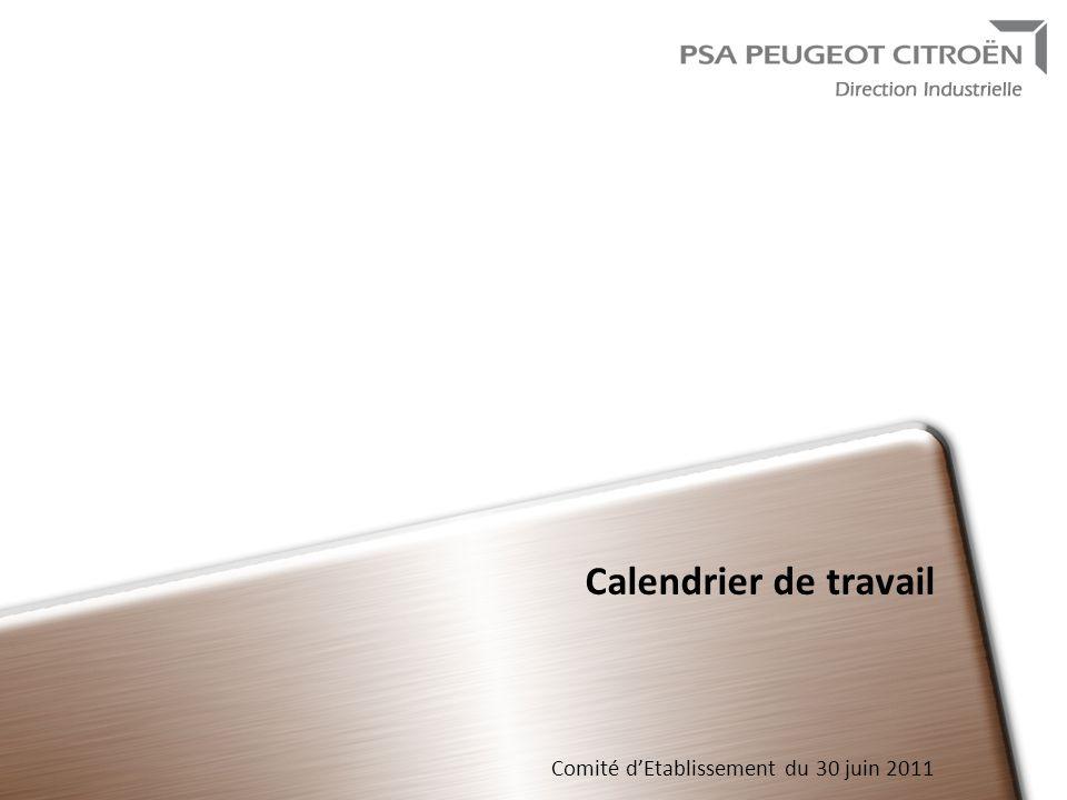 Calendrier de travail Comité d'Etablissement du 30 juin 2011