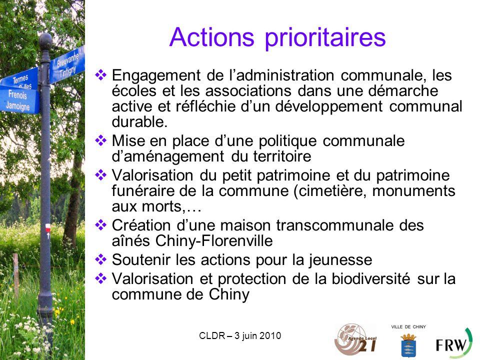 CLDR – 3 juin 2010 Actions prioritaires  Engagement de l'administration communale, les écoles et les associations dans une démarche active et réfléchie d'un développement communal durable.