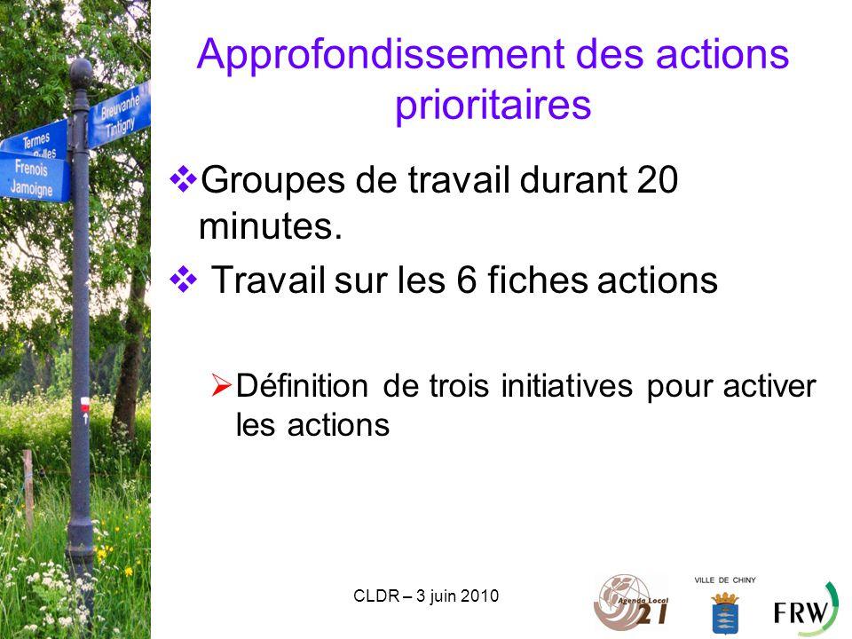 CLDR – 3 juin 2010 Approfondissement des actions prioritaires  Groupes de travail durant 20 minutes.