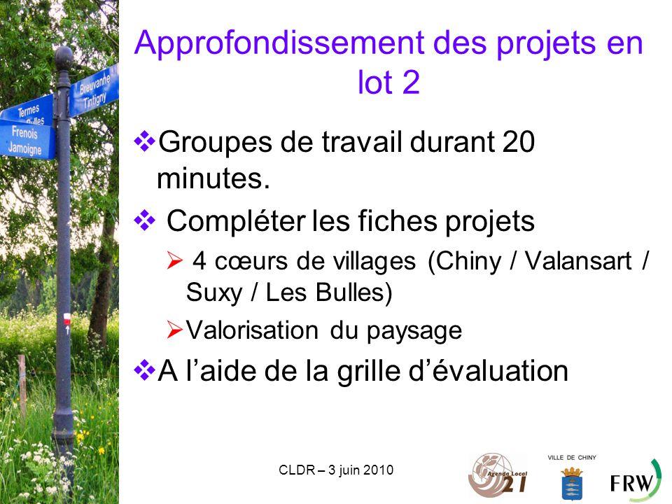 CLDR – 3 juin 2010 Approfondissement des projets en lot 2  Groupes de travail durant 20 minutes.