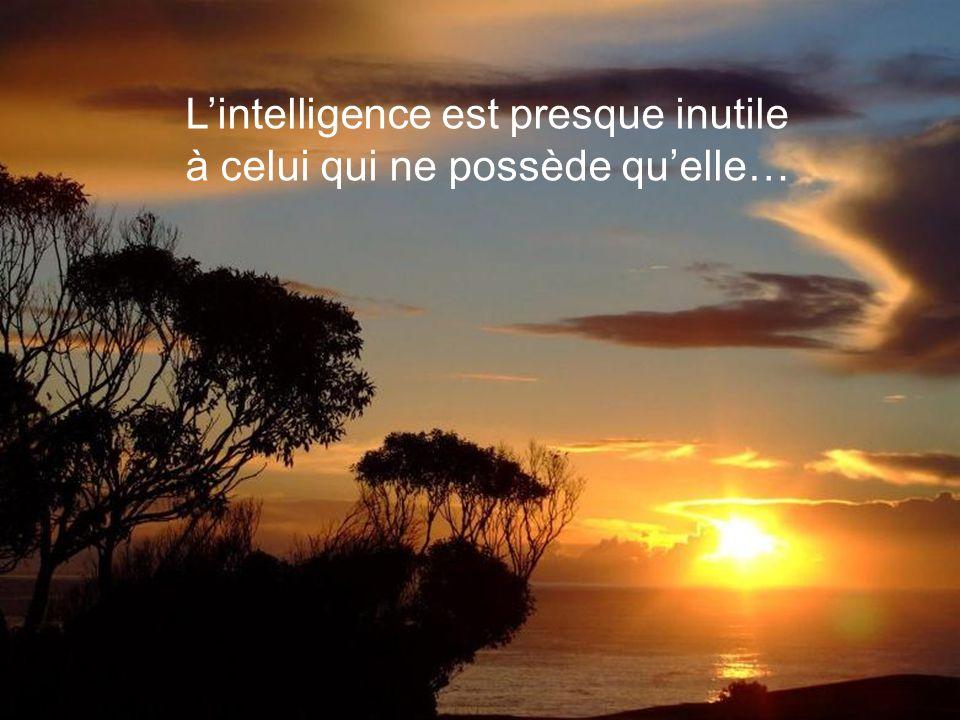 L'intelligence est presque inutile à celui qui ne possède qu'elle…
