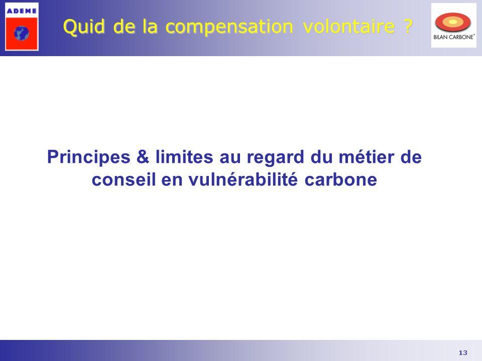 13 Quid de la compensation volontaire ? Principes & limites au regard du métier de conseil en vulnérabilité carbone