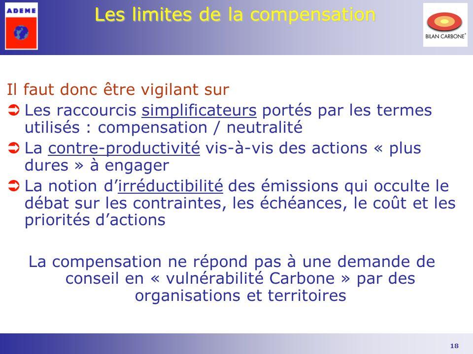 18 Les limites de la compensation Il faut donc être vigilant sur ÜLes raccourcis simplificateurs portés par les termes utilisés : compensation / neutr
