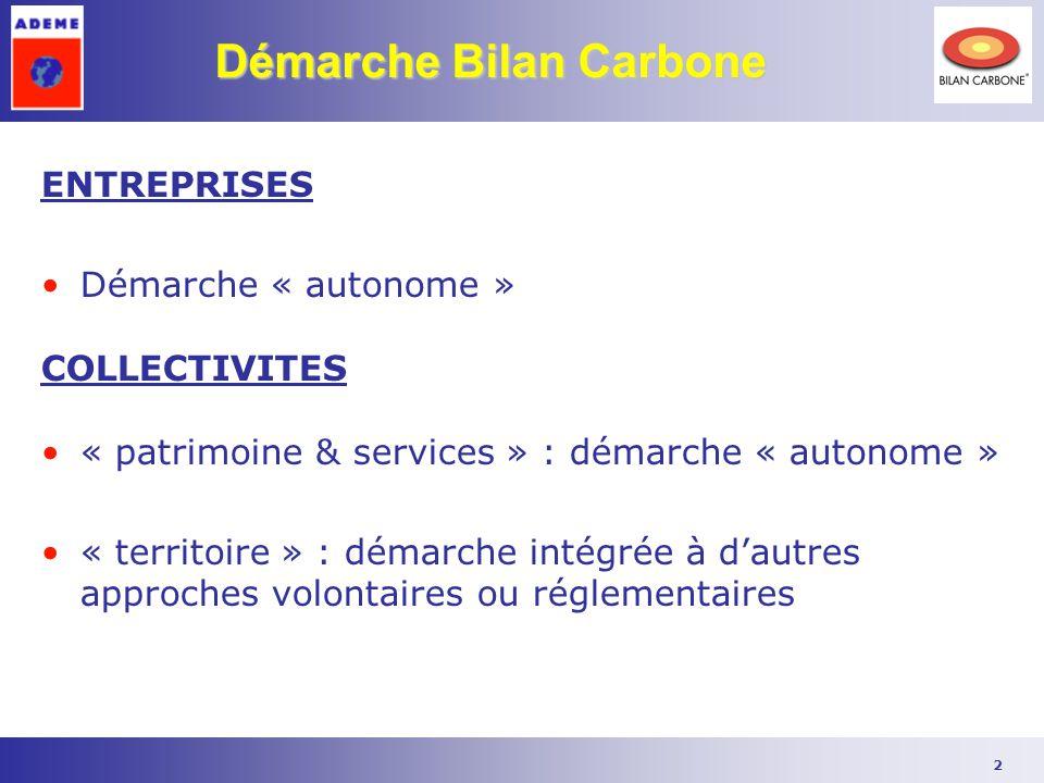 2 Démarche Bilan Carbone ENTREPRISES Démarche « autonome » COLLECTIVITES « patrimoine & services » : démarche « autonome » « territoire » : démarche i