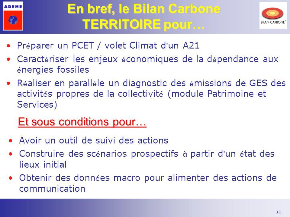 11 En bref, le Bilan Carbone TERRITOIRE pour… Pr é parer un PCET / volet Climat d ' un A21 Caract é riser les enjeux é conomiques de la d é pendance a