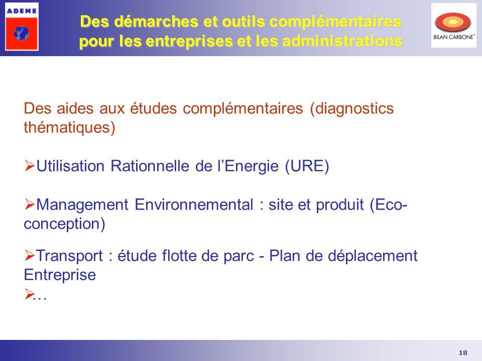 18 Des démarches et outils complémentaires pour les entreprises et les administrations Des aides aux études complémentaires (diagnostics thématiques)