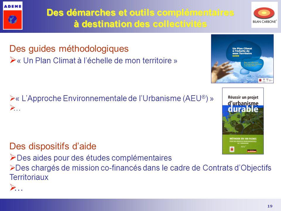 19 Des démarches et outils complémentaires à destination des collectivités Des guides méthodologiques  « Un Plan Climat à l'échelle de mon territoire