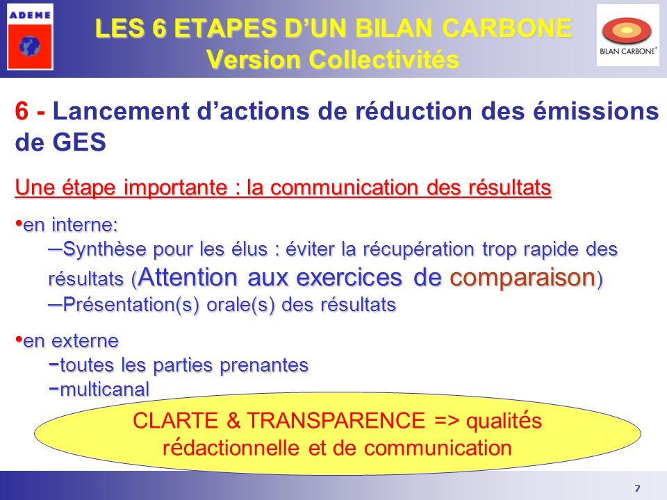 7 LES 6 ETAPES D'UN BILAN CARBONE Version Collectivités CLARTE & TRANSPARENCE => qualit é s r é dactionnelle et de communication 6 - Lancement d'actio