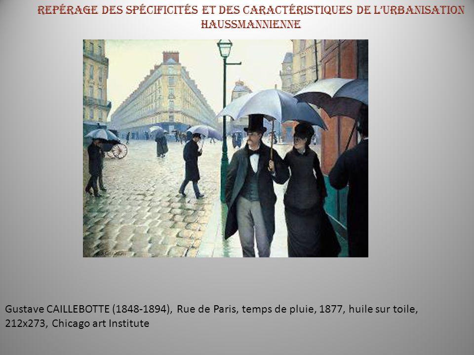 Gustave CAILLEBOTTE (1848-1894), Rue de Paris, temps de pluie, 1877, huile sur toile, 212x273, Chicago art Institute Repérage des spécificités et des
