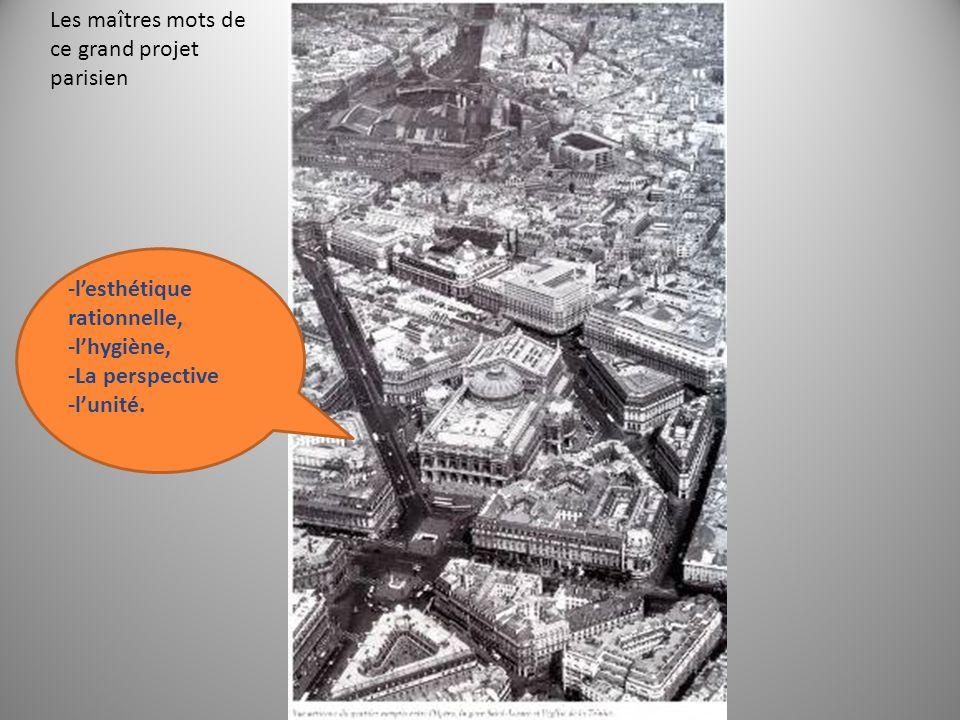 Les maîtres mots de ce grand projet parisien -l'esthétique rationnelle, -l'hygiène, -La perspective -l'unité.
