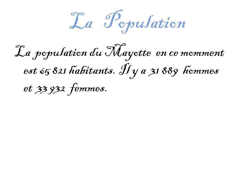 La Population La population du Mayotte en ce momment est 65 821 habitants.