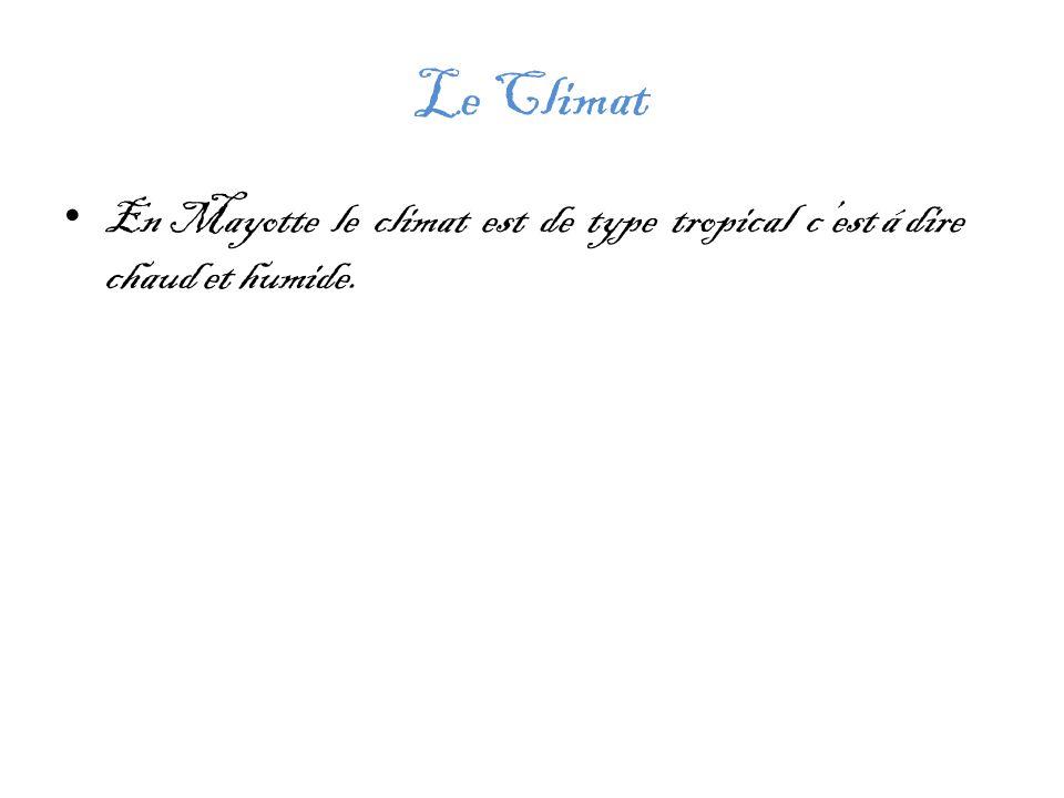 Le Climat En Mayotte le climat est de type tropical c'est á dire chaud et humide.