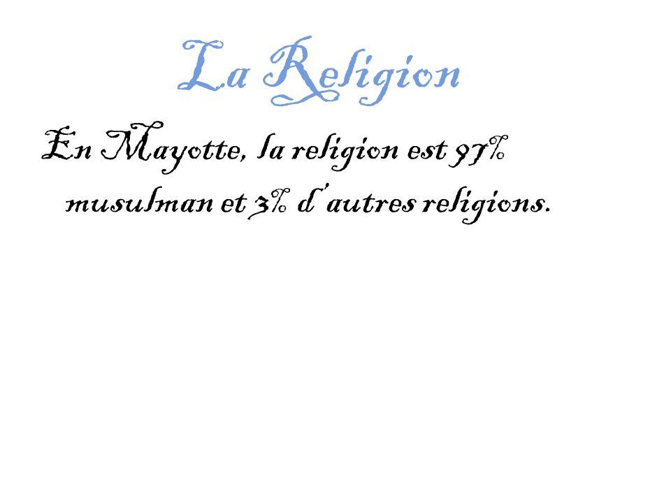 La Religion En Mayotte, la religion est 97% musulman et 3% d'autres religions.
